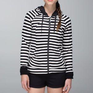 Lululemon Movement Jacket Apex Stripe Black Heathered Angel White Size 12